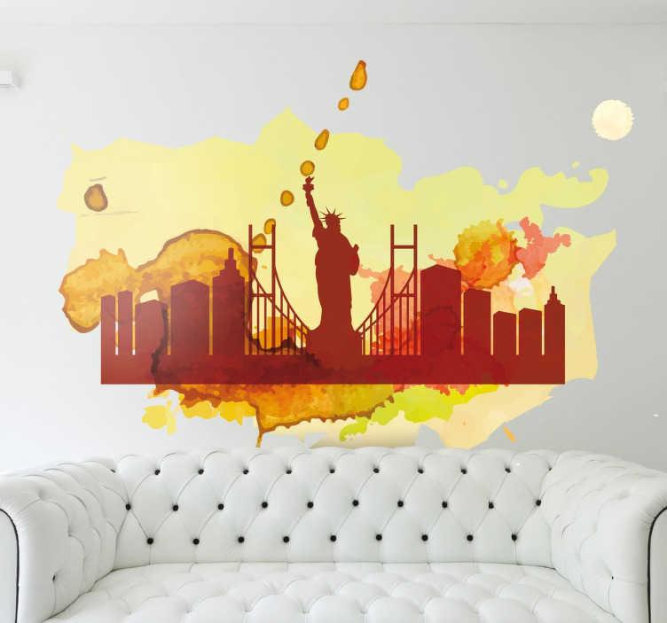 TenStickers. Muursticker silhouet aquarel skyline New York. Deze muursticker omtrent een prachtig oranje aquarel van de skyline van New York. Prachtige muurdecoratie voor uw woning.