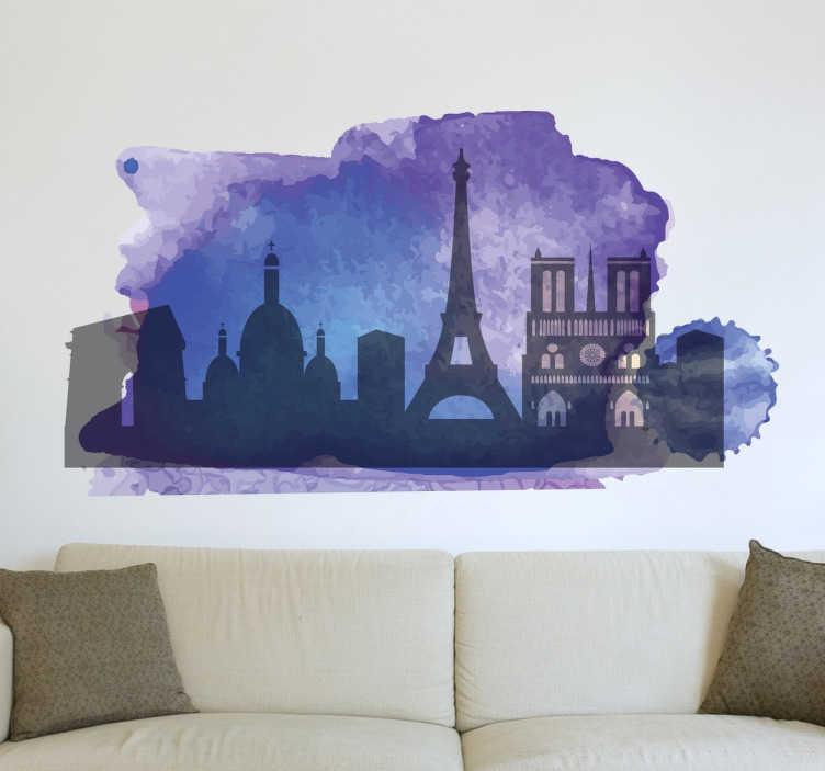 TenStickers. Wandtattoo Silhoulette Paris. Hier finden Sie die Skyline von Paris, der Hauptstadt von Frankreich, als außergewöhnliches Wandtattoo im lila Wasserfarben Stil.