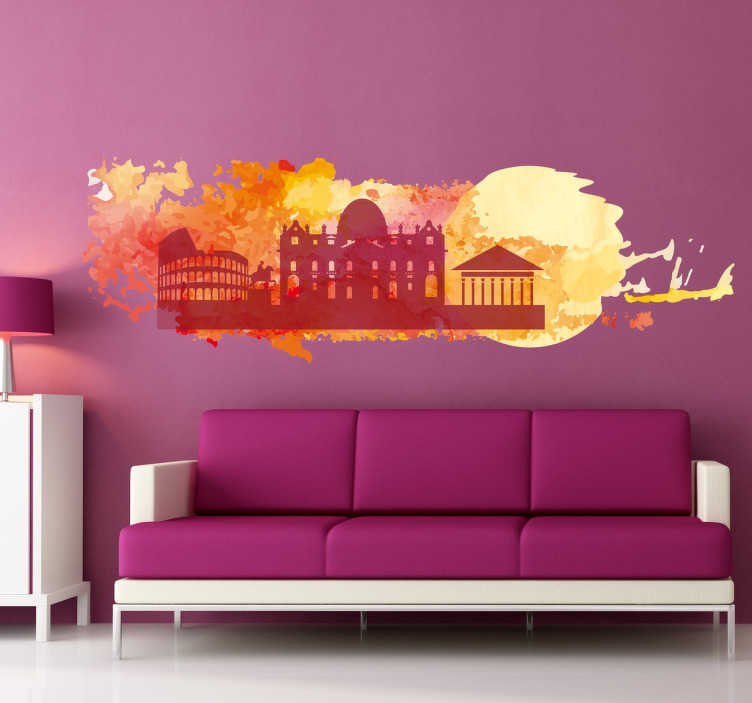 TenStickers. Colourful Rome Silhouette Wall Sticker. Wall Stickers - A colourful silhouette skyline feature inspired by the city of Rome.