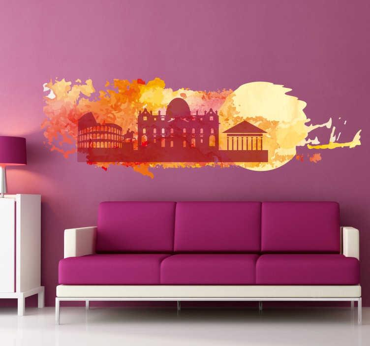 TenStickers. Sticker Rome aquarelle. Superbe sticker tout en couleurs de la ville de Rome, avec tous les monuments les plus célèbres de la capitale italienne, sur un fond de toutes les couleurs.