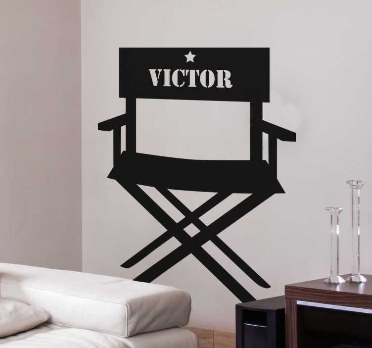 TenStickers. Director's Chair Customisable Sticker. A personalised name sticker from our collection of movie stickers. The director´s chair decal is a must for all of our movie lovers!