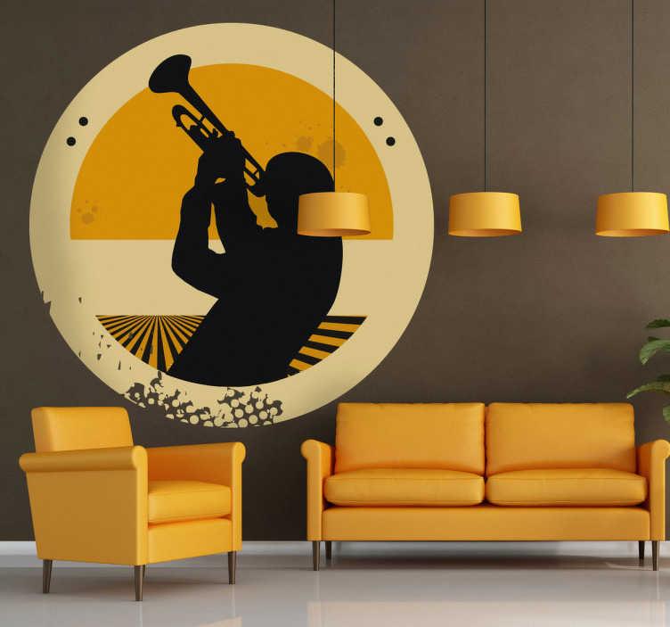 TenStickers. Sticker silhouette trompet. Deze muursticker van een man in silhouetten al spelend op een trompet past ideaal bij muziekfans. De sticker is ideaal ter decoratie van uw woning.
