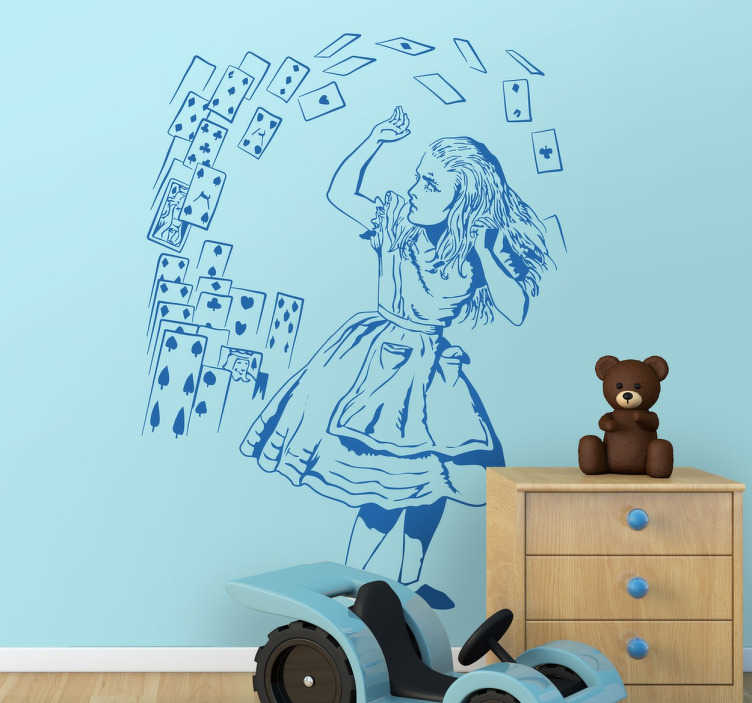 TenStickers. Alice in Wonderland Cards Decal. Cartoon decal of Alice and a flying deck of cards to decorate your child's bedroom or nursery, available in a variety of colours and sizes for you to add a personal touch to your home decor and spark the imagination of your kids.