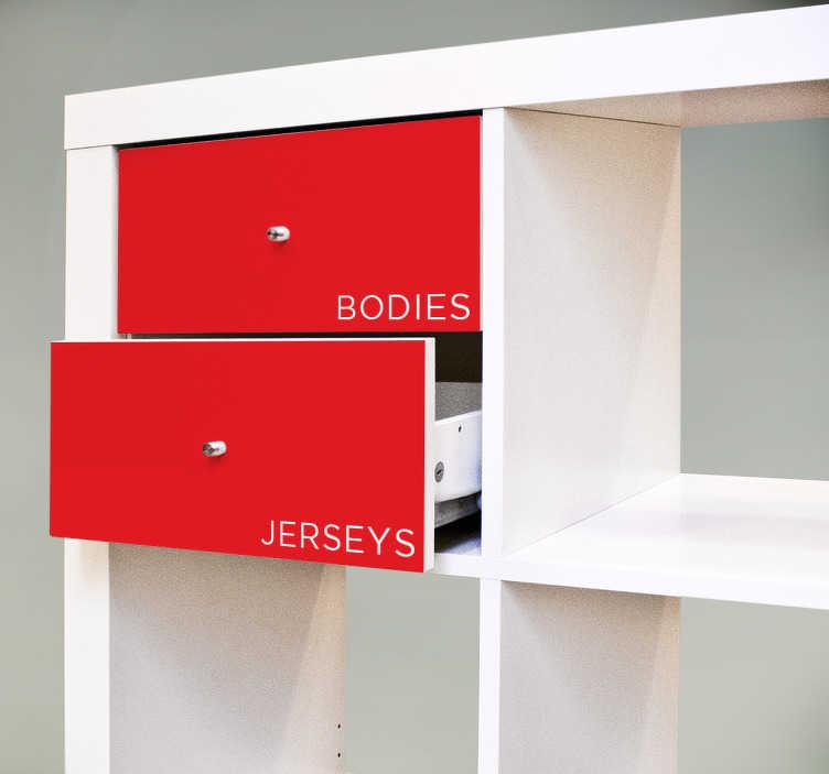 TenStickers. Sticker tiroirs Kallax personnalisés. Cet autocollant est parfait pour décorer vos objets pour ne plus vous tromper lors du rangement de vos affaires.