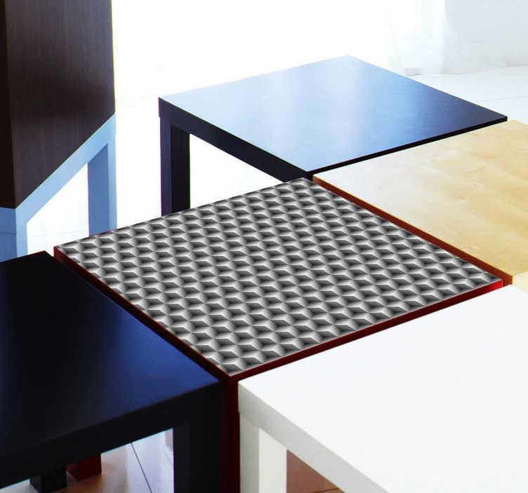 TenStickers. Naklejka na stół kwadraty 3D. Naklejka na stół IKEA z serii LACK przedstawiająca szary wzór 3D. Wprowadź zmiany w swoich wnętrzach, za sprawą łatwej w aplikacji naklejki.