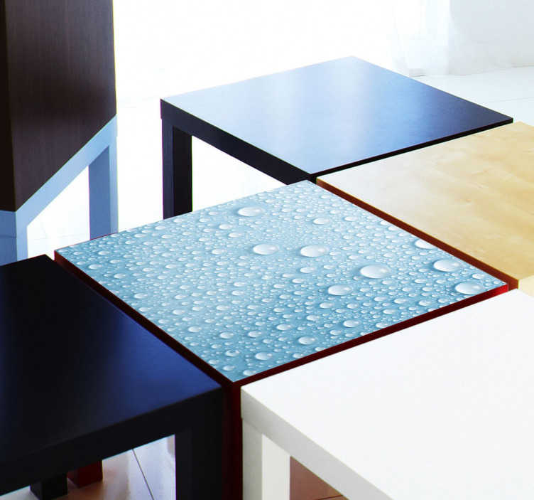TenStickers. Tischaufkleber Ikea LACK Wassertropfen. Dekorieren Sie Ihre Möbel! Zum Beispiel Ihren einfachen, schlichten Tisch aus der Ikea LACK-Serie mit diesem Aufkleber der Wassertropfen darstellt.