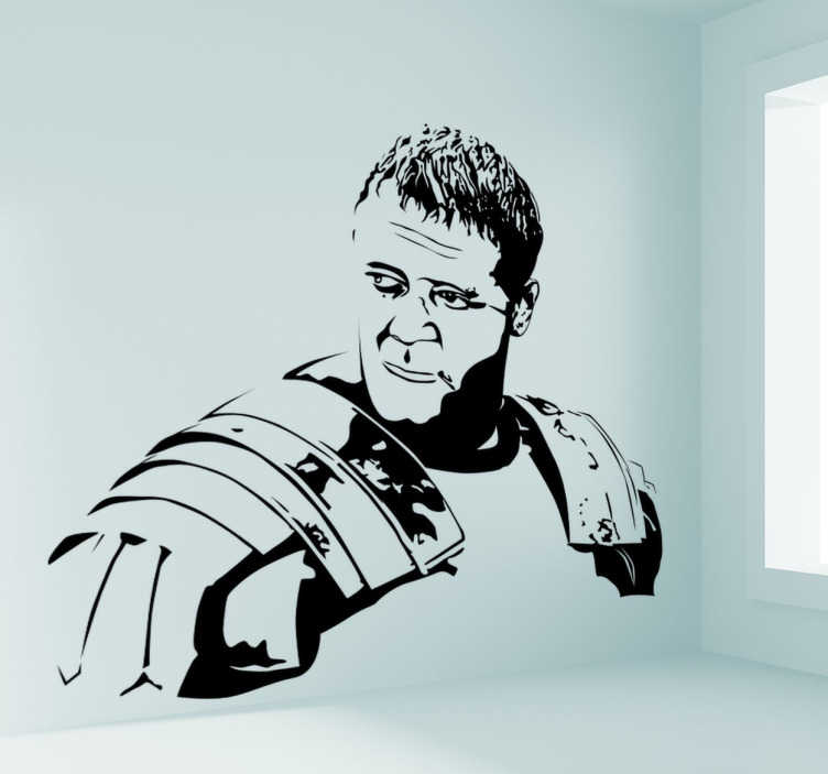 TenStickers. Wall sticker decorativo Il gladiatore. Wall sticker decortaivo che raffigura Russell Crowe nel film Il Gladiatore!