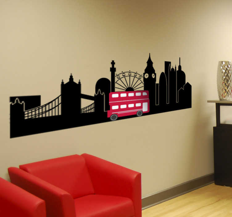 TenStickers. London Big Ben Wall Mural. Photo Murals - Shot of London monument Big Ben in black and white with a contrasting red bus. Ideal for decorating the living room or office.