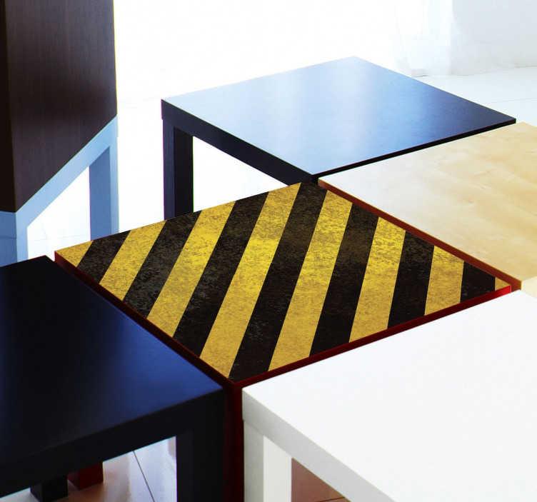 TenStickers. Sticker LACK rayé. Stickers décoratifs IKEA. Transformez votre table LACK avec cet élégant design rayé de couleur noir et or, pour un résultat personnalisé.