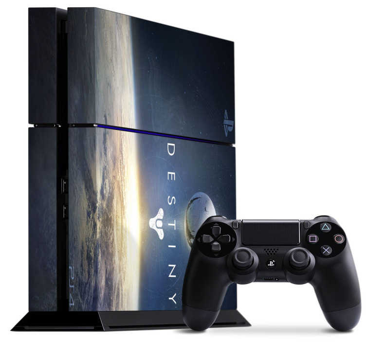 TenStickers. PS4 sticker Destiny. Personliggør din PlayStation 4 konsoller med denne sticker med dette Destiny tema design. Dekorere og beskytte din PS4 mod ridser og støv. Let at påføre.
