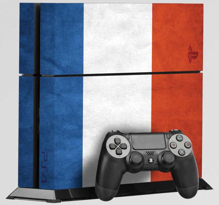 TenStickers. Naklejka na PS4 flaga Holandii. Naklejka dekoracyjna na PlayStation 4, która przedstawia narodowe barwy Holandii. Dla wszystkich, którzy kochają holenderską kulturę i język.