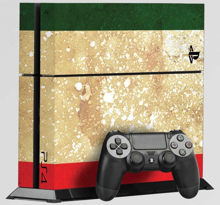 TenStickers. Ps4 Aufkleber Italienflagge im retro-Look. Individualisieren Sie Ihre Ps4 mit diesem qualitativ hochwertigen Vinyl Aufkleber in Form einer Italien-Flagge im Retro-Look!