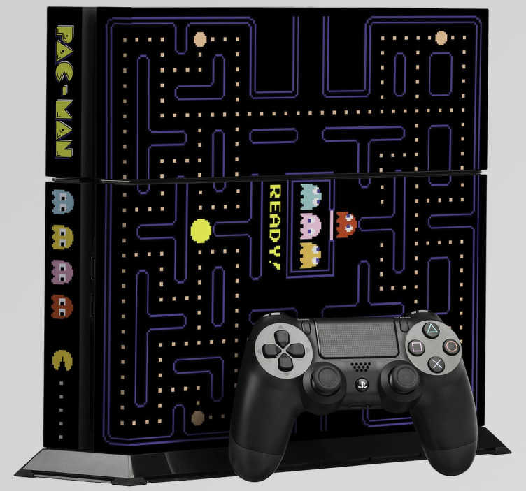 TenStickers. Naklejka na PS4 Pacman. Udekoruj Swoją konsolę PlayStation 4 oryginalną naklejką dekoracyjną, która przedstawia kultową grę Pac-Man. Ciekawy pomysł na Twoją konsolę.