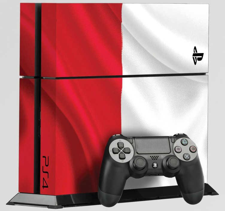 TenStickers. Naklejka na PS4 flaga Polski. Naklejka dekoracyjna na konsolę Playstation 4, która przedstawia narodową flagę Polski. Idealna naklejka dla wszystkich patriotów.