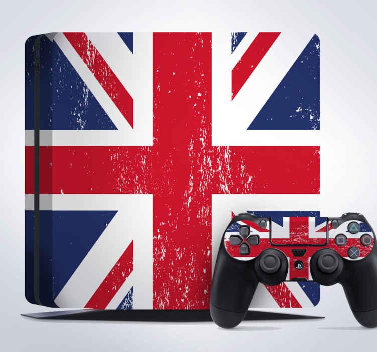 TenStickers. Autocolante bandeiras ps4 Inglaterra. Autocolante decorativo com bandeiras para decorares a tua consola.