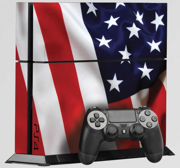 TenStickers. Ps4 Aufkleber USA-Flagge. Verzieren Sie Ihre Ps4 mit dem hochwertigen Aufkleber mit dem Design der sich bewegenden USA-Flagge!