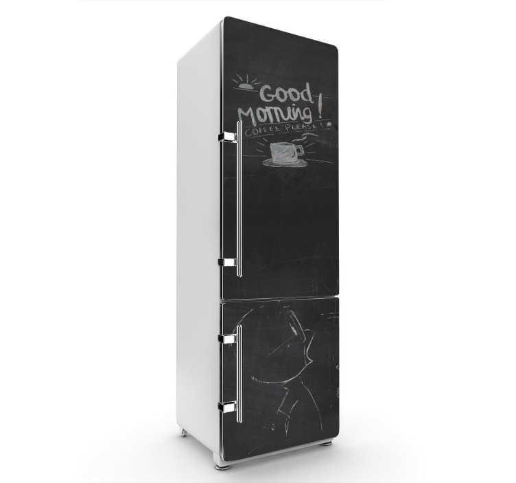 TenStickers. Kühlschrank Aufkleber Tafelfolie. Haben Sie Magneten und Zettel auf Ihrem Kühlschrank satt? Dann gestalten Sie Ihren Kühlschrank komplett mit dieser tollen Tafelfolie!