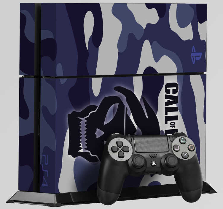 TenVinilo. Vinilo PlayStation 4 Call Of Duty. Pegatina decorativa para tu PlayStation 4 de el clásico shooter Call Of Duty. Personaliza tu PS4 con este sticker de camuflaje militar y crea una pieza única y diferente al resto.