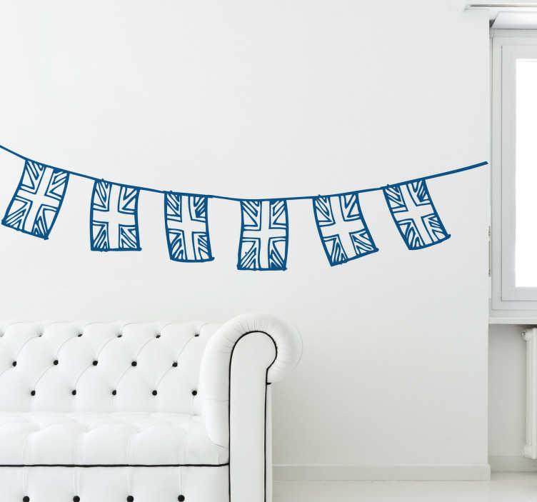 TenStickers. Sticker vlaggen Groot-Britannië. Deze muursticker van 6 vlaggen van Groot-Brittannië is ideaal voor een omgeving met kinderen. Daarom past deze ook goed thuis in de kamer van uw kind.