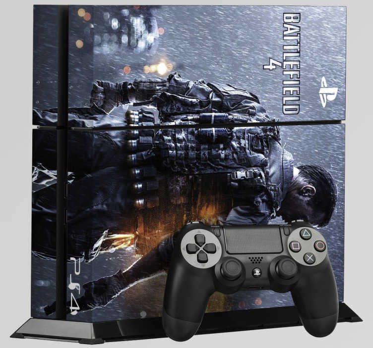 TenVinilo. Vinilo PS4 Battlefield 4. Pegatinas para PS4 de uno de los Shooter de Guerra más vendidos. Battlefield 4 es el vinilo ideal si te gusta jugar interminables partidas online a este juego y a la vez quieres disfrutar de una videoconsola única. Adhesivos de fácil aplicación.