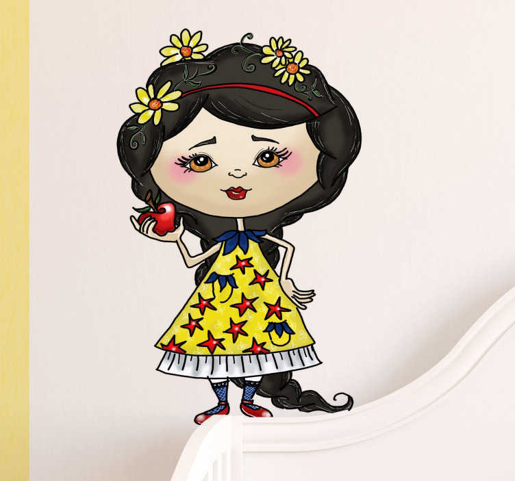 TenStickers. Sticker Blanche-Neige princesse. Sticker Blanche-Neige idéal pour décorer la chambre de vos enfants, avec ce design unique réalisé par Apatino Art.