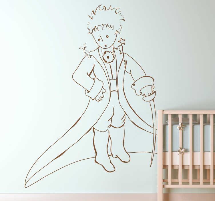 TenStickers. Sticker dessin Petit prince. Sticker enfants pour décorer votre intérieur, avec cette illustration originale du célèbre Petit Prince d'Antoine de Saint-Exupéry.