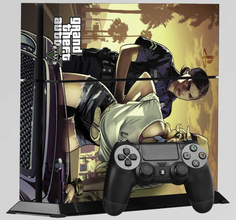 TenVinilo. Vinilo PS4 Grand Theft Auto. Dibujo del mítico juego Grand Theft Auto. Decora tu videoconsola si eres entusiasta de este juego y pasas largas horas deambulando por la ciudad, extorsionando y robando coches. Dota tu consola de un aire único con estos vinilos baratos de fácil aplicación.
