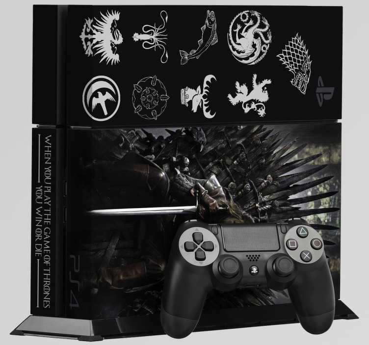 TenVinilo. Vinilo PS4 Juego de tronos. Vinilos para PS4. Pegatina para decorar y personalizar tu consola si eres un Gamer y a la vez te encanta la serie de Juego de Tronos. Stickers con las casa de la serie y el mítico trono.
