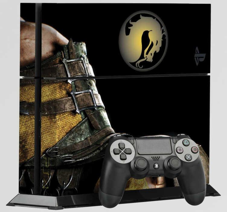 TenVinilo. Vinilo PS4 Mortal Kombat. Pegatinas para PS4 con el mítico juego de lucha Mortal Kombat. Si te encantan las artes marciales y los videojuegos de lucha, decora tu videoconsola acorde con ello. Adhesivos de fácil aplicación y baratos.