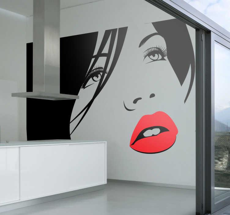 TenStickers. Sticker decorativo viso ragazza 10. Adesivo murale in bianco e nero, che raffigura il volto di una bella ragazza con le labbra tinte di rosso e lo sguardo perso all'orizzonte.