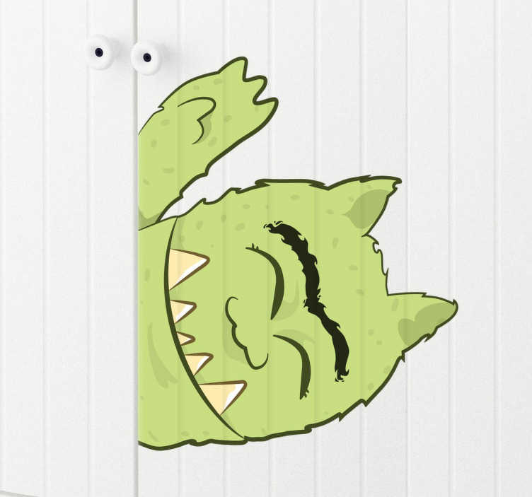 TenStickers. Green Monster Kids Sticker. An illustration of a friendly green monster from our collection of funny wall stickers to decorate the bedroom of the little onesThis green monsters is super easy to apply and leaves no residue upon removal Made from high quality vinyl