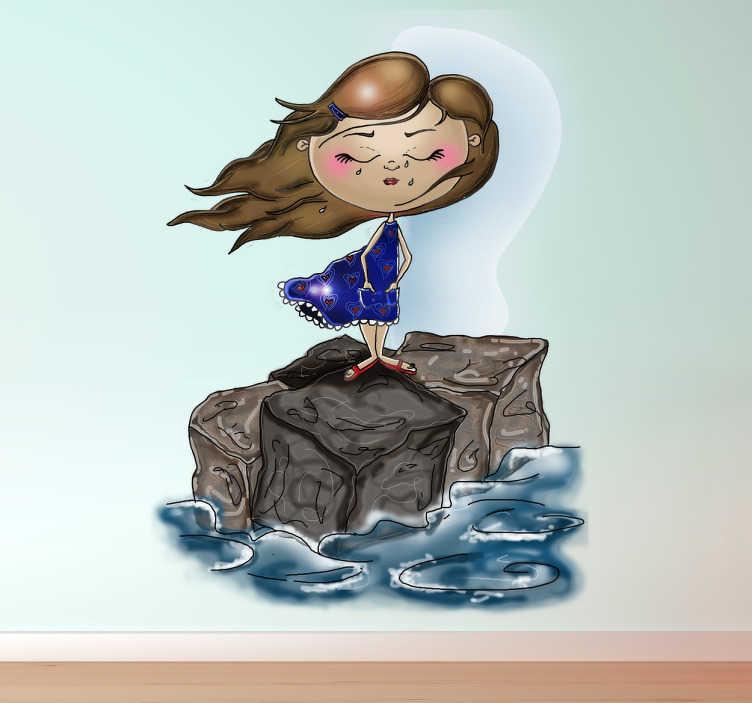 TenStickers. Meisje bij de zee sticker. Muursticker van een meisje met een jurkje aan en lange haren dat op een rots staat in de zee! Er is veel wind en haar haren en jurk waaien weg.