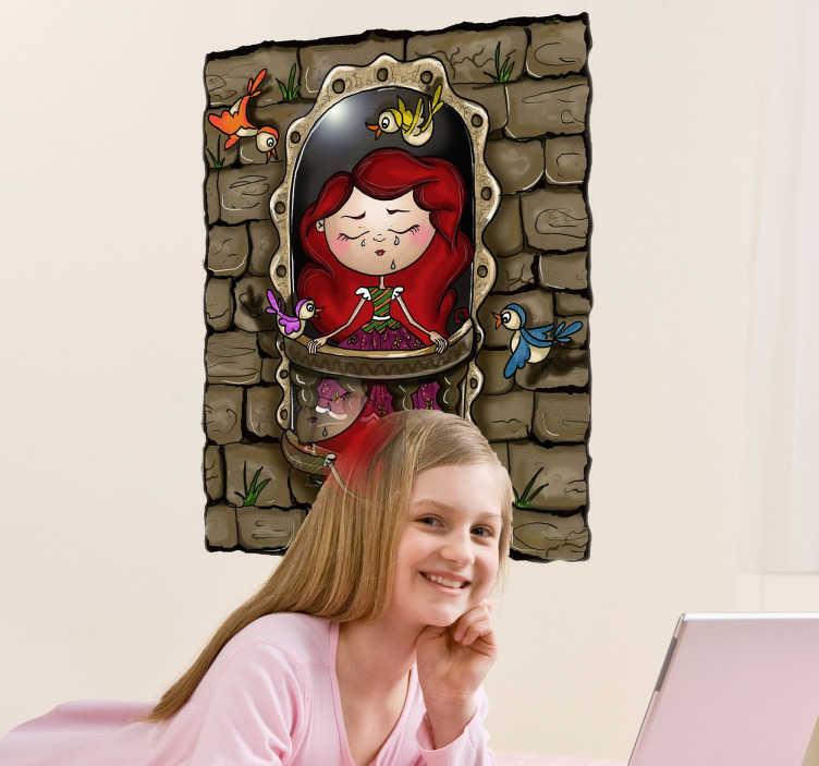 Sticker bambini principessa capelli rossi