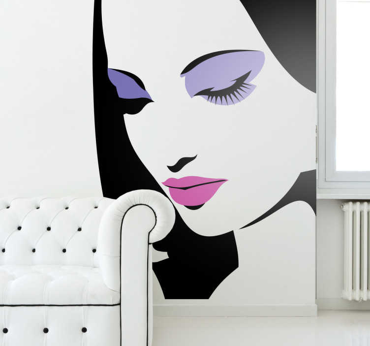 TenStickers. Portrait with Make Up Sticker. Decorative stencil sticker of a girl with make up on. Brilliant decal to decorate your walls.
