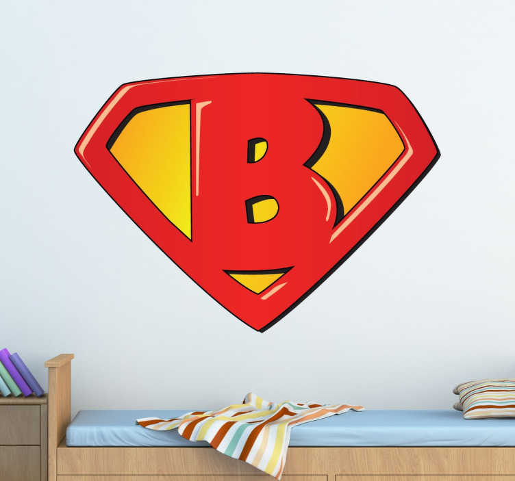 TenStickers. Super B Sticker. Personaliseer de kinderslaapkamer met deze superhelden superman logo sticker met een B in plaats van een S!