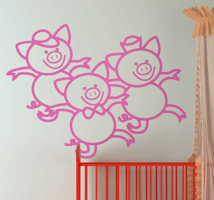TenStickers. Kids Three Little Pigs Wall Sticker. Kids Wall Stickers - Illustration inspired by the classic childhood tale of the three little pigs.
