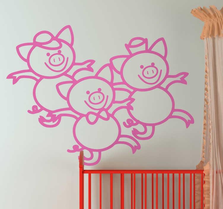 TenStickers. Autocolante infantil dos 3 porquinhos. Decore o quarto das suas crianças com este autocolante de parede infantil com a imagem dos famosos 3 porquinhos do conto infantil os 3 porquinhos e o lobo mau.