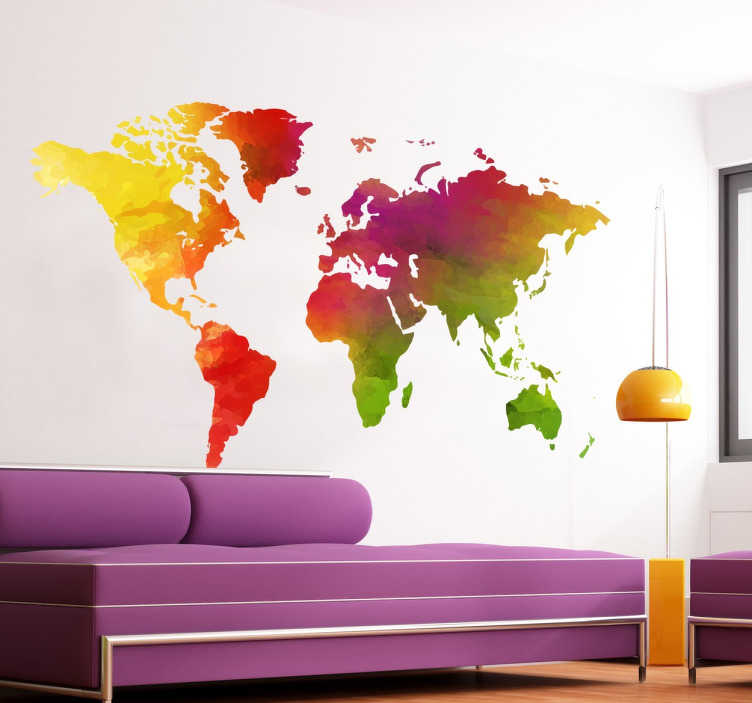 TenStickers. Multi-Coloured World Map Sticker. A colourful silhouette of the world´s continents by Freepik. A flashy world map sticker, perfect for livening up your living room or your bedroom
