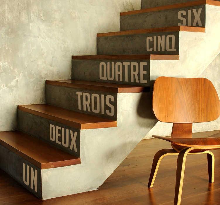 TenVinilo. Vinilo para escaleras números francés. Sticker con los números del 1 a 20 escritos en francés con los que podrás decorar los escalones de tu casa. Vinilos que juntan estética y aprendizaje.