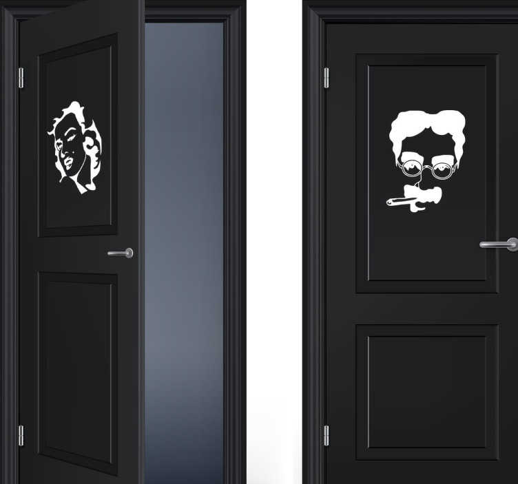 TenStickers. Marilyn Monroe and Groucho Marx WC Decals. Pair of monochrome door stickers showing the faces of Marilyn Monroe and Groucho Marx available in a wide range of sizes and colours, perfect for showing your guests or customers which bathroom is which in a fun and unique way.