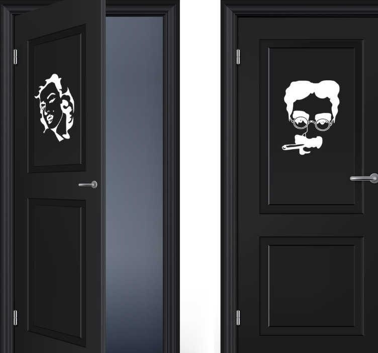 Tenstickers. Marilyn monroe ja groucho marx wc -tarrat. Pari yksivärisiä oviverhoiluja, jotka näyttävät marilyn monroen ja groucho marxin kasvot saatavana monenlaisissa kokoja ja värejä, jotka sopivat asiakkaidesi tai asiakkaiden näyttämiseen joka kylpyhuone on hauska ja ainutlaatuinen.