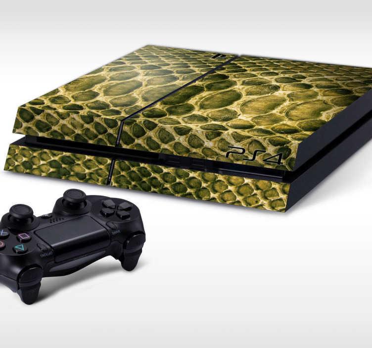TenStickers. PS4 sticker reptilskind. Personliggør din PlayStation 4 konsoller med denne sticker med dette reptilskind tema design. Dekorere og beskytte din PS4 mod ridser og støv.