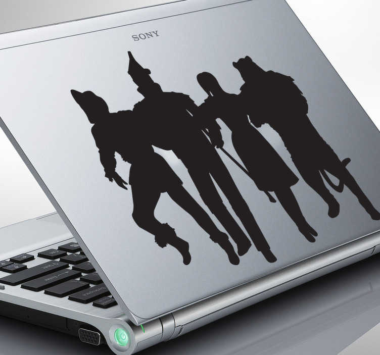 TenStickers. Wizard of Oz Laptop Sticker. Decorate your laptop with this superb monochrome sticker illustrating the famous musical play, The Wizard of Oz.