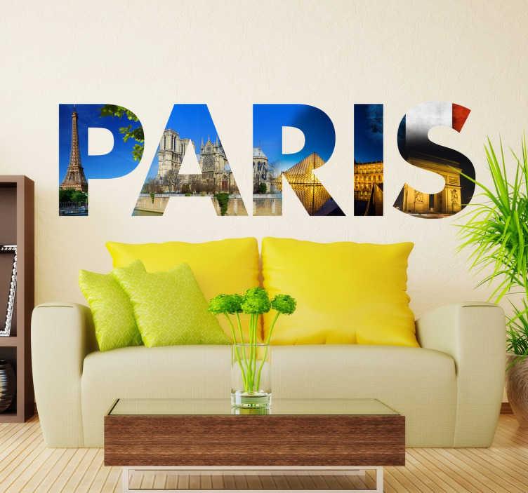 TENSTICKERS. パリの写真のテキストのステッカー. あなたはフランスと首都の恋人ですか?私たちの元のパリの壁のステッカーの一つであなたの家の壁を飾る。このヨーロッパの都市の名前を構成する手紙によってシルエットされた、最も特徴的なパリのモニュメントの写真付きの芸術的なビニール。