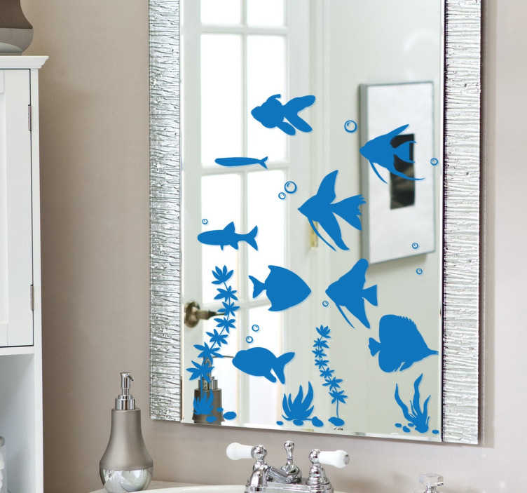 TenStickers. Aquarium Fish Mirror Decal. A collection of fish silhouette stickers to decorate your mirror in your bathroom. Original set from our collection of under the sea wall stickers.