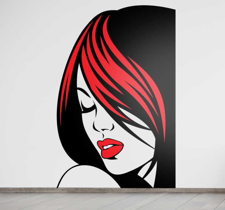 TenVinilo. Vinilo decorativo retrato chica sugerente. Vinilo decorativo con la imagen de la cara de una chica de cabellos negros con mechón rojo, ojos cerrados y labios pintados.