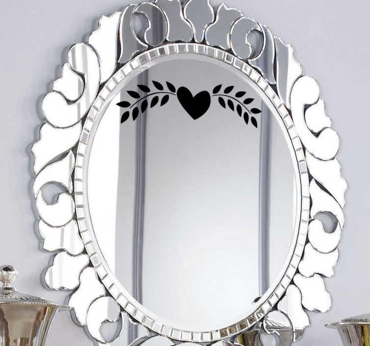 TenVinilo. Adhesivo detalle para espejo corazón. Elegante elemento decorativo en adhesivo para espejos con el icono de un corazón y dos hojas de laurel a los lados.