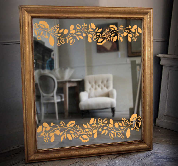 TenStickers. Spejl blomsterklistermærke. Spejl klistermærker - elegant blomstret design for at forbedre ethvert spejl. Klassisk funktion at placere på dit spejl. Let at anvende og fjerne.