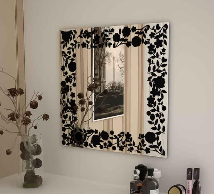 TenStickers. Adesivo specchio cornice fiori. Raffinato sticker per specchi concepito per le vanitose che desiderano rendere ancora più speciale il proprio riflesso.