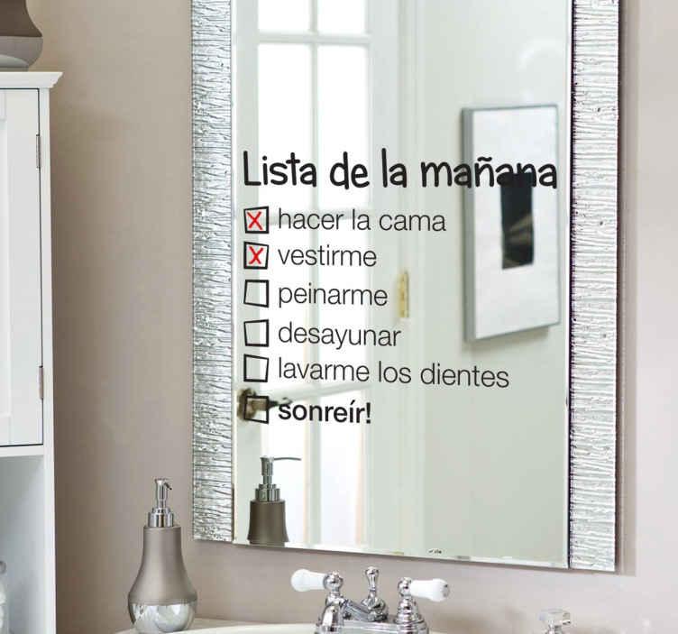 TenVinilo. Vinilo espejo lista de la mañana. Si eres un despistado que necesita listas para todo, decora tu baño con un original vinilo decorativo para espejos.